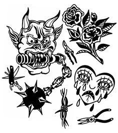 Torso Tattoos, Old Tattoos, Black Ink Tattoos, Tattoo Flash Sheet, Tattoo Flash Art, Tattoo Sketches, Tattoo Drawings, Traditional Black Tattoo, Aztec Tattoo Designs