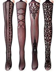 Vero Monte 4 Pairs Women's Fishnet Tights Suspender Thigh High Pantyhose (Black)