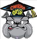 Bull Dog Balloon, Bull Dog Graduation Balloon