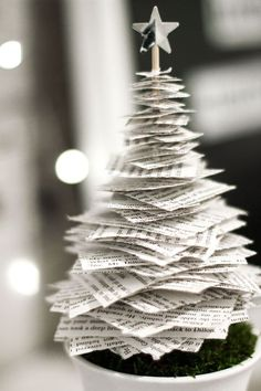 Easy to make tabletop Christmas tree. Love this unique idea to use pages of a book to create the shape of a tree.