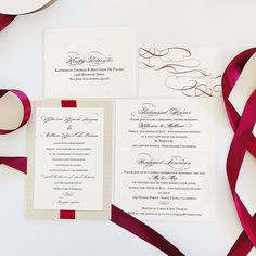 Cara Couture Invitations offers personalized hand crafted invitations for weddings and events. Couture Wedding Invitations, Red Ribbon, Ribbons, Van, Elegant, Pictures, Crafts, Red Lace, Dapper Gentleman