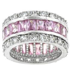 New Jewelry 2016 Women Jewelry Full Zircon Birthstone Pink Cz 925 Sterling Silver Engagement Wedding Band Ring For women Sapphire Eternity Band, Eternity Bands, Silver Wedding Bands, Wedding Ring Bands, Pink Topaz, Pink Sapphire, Baguette Eternity Band, Cubic Zirconia Rings, Rings Cool
