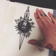 Výsledek obrázku pro rose and dagger tattoo dotwork Leg Tattoos, Body Art Tattoos, Small Tattoos, Sleeve Tattoos, Tatoos, Finger Tattoos, Rose And Dagger Tattoo, Tatuaje Old School, Tattoo Designs