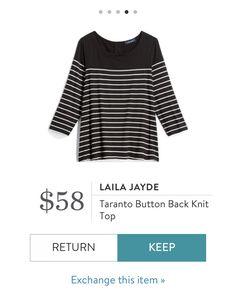 d01fdef5d18 Laila Jayde Taranto Button Back Knit Black  amp  White Striped Top