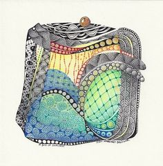 """""""A Box of Sunlight"""" © 2010 Margaret Bremner  6"""" square on archival mat board, ink and colored pencil  Tangles: Bales, Beadlines, Caviar, Coaster, Lotus Pods,   Perfs, Puf, Shattuck, Tipple, Unyun, Wud variation"""