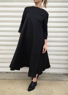 Black Maxi Dress / Oversize Dress with 3/4 Sleevs / Fashion Elegant Dress / Unique Maxi Dress / EXPRESS SHIPPING