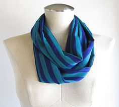 Blue and Green Stripe Scarf  Stripe Infinity Scarf  by EyeCandy395, $20.00