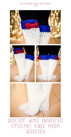 Doctor Who Inspired Knee high booties. Crocheted December 5th, 2013. Photographed December 8th, 2013 Kat Donovan Photo and Design There is no pattern listed. Photo from Flickr. --LO