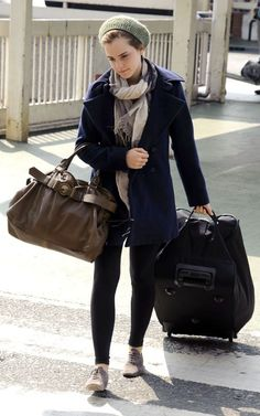 emma watson  hat/beanie + cover up/coat + scarf + leggings + oxford shoes (travel)