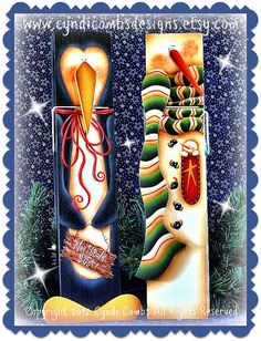 CC114 - Snowman & Penguin 12 inch Memo Clips - Painting E Pattern by Cyndi Combs
