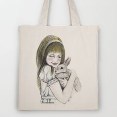 Alice and the White Rabbit. Tote Bag by Pendientera - $18.00