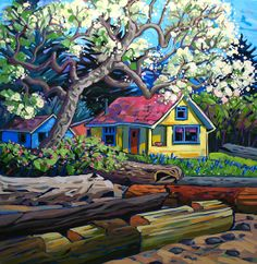 Artwork by artist Greta Guzek, represented by the West End Gallery. Cute Cottage, Cottage Art, Landscape Art, Landscape Paintings, Storybook Cottage, Winter Painting, Naive Art, Canadian Artists, Beautiful Landscapes