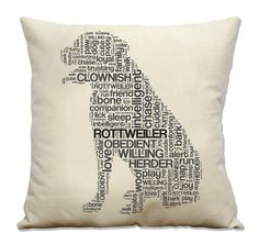 Rottweiler 16 Pillow w/insert Dog Pillow Dog Breed by DogCityandCo