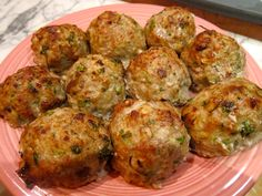 veal pork meatballs - on plates