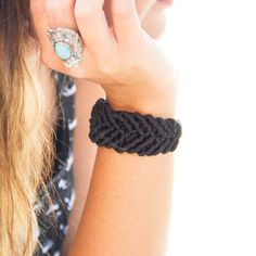 Create this simple, everyday wear cuff bracelet using black tulle and a lobster clasp.