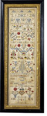 Elizabeth Searles 1701- This recently rediscovered sampler belongs to a group of ten outstanding samplers worked under the instruction of Judith Hayle of Ipswich, England, between 1691 and 1704