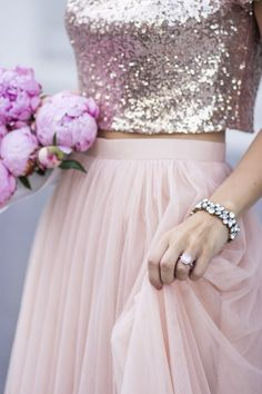 Adore rose gold sequins and blush tulle together <3 Women, Men and Kids Outfit Ideas on our website at 7ootd.com #ootd #7ootd