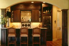 Bartender? A drink, please! #home #wetbar #designideas  More here: http://www.christianbroscabinets.com/galleries/custom-cabinets-and-storage-ideas-for-basements.html#prettyPhoto