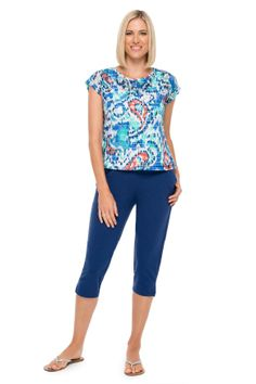 c780bf06e28 Embellished Bengal Batik top and French Terry Cropped Capri. Ruby Rd.