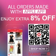 Connect Fashion! Save Extra 8% OFF for ALL Orders Made with Apple App at sammydress.com! No Coupon Needed!