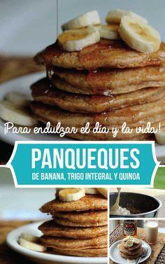 Panqueques de banana, trigo integral y quinoa