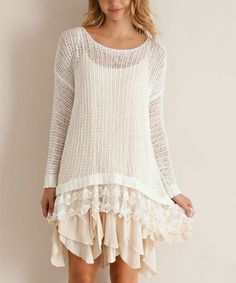 Loving this Cream Lace Sweater Tunic on #zulily! #zulilyfinds