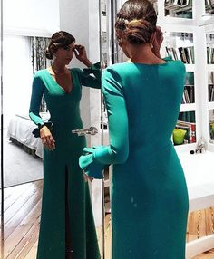 Emerald Green Long Sleeves Mermaid Evening Dress with
