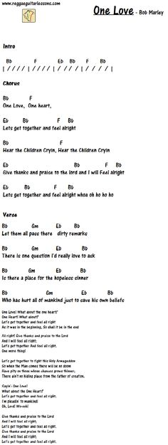 "how to play ""One love"" on guitar by Bob Marley. Guitar chords & lyrics"