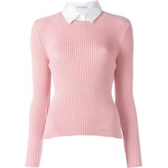 Altuzarra shirt collar jumper found on Polyvore featuring tops, sweaters, shirt jumper, collared sweater, pink top, collar top and shirt top