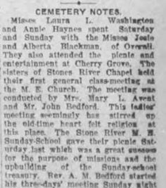 Cemetery Notes, August 16, 1912 :: Cemetery, a Freedmen's Community, Rutherford County, Tennessee