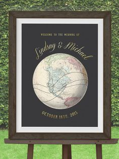 Custom Wedding welcome Sign for Vintage Travel by MDBWeddings