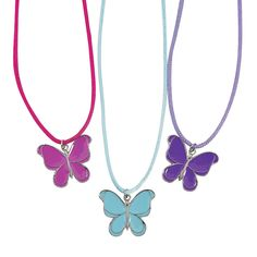 Add a flutter of pretty color to your wardrobe. These butterfly necklaces will be a favorite accessory for spring and summer. Add these . Wood Butterfly, Butterfly Crafts, Butterfly Shape, Blue Butterfly, Butterfly 1st Birthday, Butterfly Party, Puppet Crafts, Toy Craft, Lego Friends Birthday
