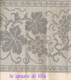 lo spazio di lilla: A gentile richiesta...: uva a filet per la tovaglia d'altare ed immagini sacre Holiday Crochet Patterns, Crochet Doily Patterns, Crochet Art, Crochet Doilies, Crochet Stitches, Embroidery Patterns, Sewing Patterns, Filet Crochet Charts, Fillet Crochet