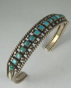Vntg Zuni 16 Squared Turquoise Row Bracelet