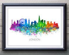 London Skyline Watercolor Art Poster Print - Wall Decor - Watercolor Wall Art - Artwork- Watercolor Painting - Illustration - Home Decor