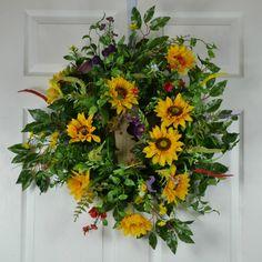 Sunflower Door Wreath  Birdhouse Wreaths  by GaslightFloralDesign