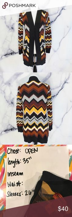 Missoni For Target Amber Chevron Open Cardigan •CONDITION: pre owned.  •FLAWS: No pilling, stains, or rips. •Feel free to make an offer -OR- bundle your likes for me and I'll send you an offer with an exclusive discount! Missoni for Target Sweaters Cardigans