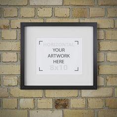 8x10 frame mockup, Brick background, Matted black frame, Digital product mock up, Portrait, Styled mockup, Instant download, Mockup photo