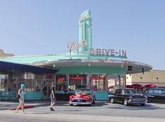 "The original California Googie-style ""Mel's Drive-ins"" were started in 1947. This replica at Universal Studios in Orlando mimics the one featured in the American Graffiti movie,"