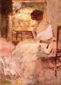 The Athenaeum - Lady in a White Evening Gown (Richard Edward Miller - No dates listed)