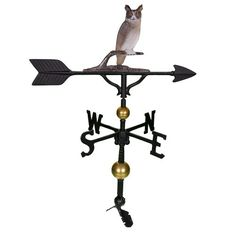 Weathervanes  Montague Metal Products 32-Inch Deluxe Weathervane with Color Owl Ornament Outdoor Décor ** This is an Amazon Associate's Pin. Find similar products on the website by clicking the VISIT button.
