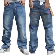HOT! Plus Size For men Baggy Jeans Loose  Jeans Sport Trousers Hip-hop Printing Skateboard pants Men Jeans Size 30-42 - http://www.aliexpress.com/item/HOT-Plus-Size-For-men-Baggy-Jeans-Loose-Jeans-Sport-Trousers-Hip-hop-Printing-Skateboard-pants-Men-Jeans-Size-30-42/32242160755.html