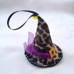 Felt Halloween Ornaments  Animal Print  Witch Hat by WhisperingOak, $6.50