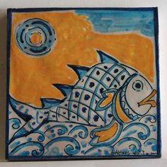 "Messina italian ceramic tiles - Tile 14 Blue-orange collection ""Fish 2"""