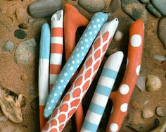 painted driftwood sticks, 7 painted chubby sticks, blue and orange, stripes, polka dots, patterns