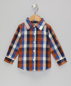 Blue & Orange Plaid Button-Up - Infant & Toddler by RuggedButts on #zulily #cutiestyle