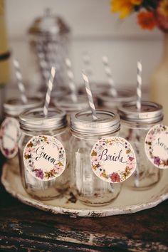 paper name tags for the drinks, photo by JBM Weddings http://ruffledblog.com/handsome-hollow-wedding-ideas #weddingideas #papergoods #nametags