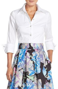 Free shipping and returns on Eliza J Cotton Poplin Blouse at Nordstrom.com. Menswear inspiration meets feminine charm with this stretch cotton top fashioned with sparkling bejeweled buttons, flattering contoured seaming, and three-quarter sleeves folded with classic French cuffs.