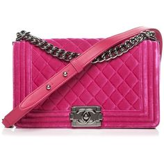 CHANEL Velvet Quilted Medium Boy Flap Fuchsia ❤ liked on Polyvore featuring bags, handbags, shoulder bags, velvet handbags, pink quilted purse, chanel handbags, chanel and quilted shoulder bags