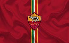 Scarica sfondi Roma, squadra di calcio, emblema di Roma, logo, Serie A, Italia, calcio
